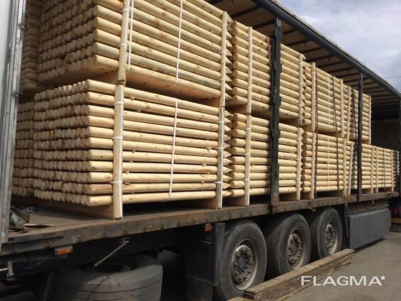Machine Rounded poles ( Ukraine) оцилиндрованные колья сосна